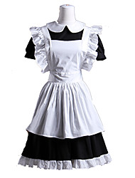 cheap -Gothic Lolita Waist Apron Dress Maid Suits Women's Girls' Cotton Japanese Cosplay Costumes White Patchwork Roll Sleeves Short Sleeve Short Length