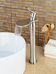 cheap -Bathroom Sink Faucet - Waterfall Nickel Brushed Centerset Single Handle One HoleBath Taps