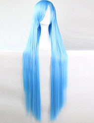 cheap -anime cosplay wig wathet blue 100 cm long straight hair high temperature wire Halloween