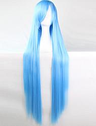 cheap -anime cosplay wig wathet blue 100 cm long straight hair high temperature wire Halloween