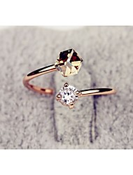 cheap -Women's Ring Synthetic Diamond Gold / Pink Alloy Ladies Fashion Wedding Party Jewelry Two Stone