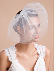 cheap -Three-tier Cut Edge Wedding Veil Blusher Veils / Veils for Short Hair with Ruffles Tulle / Drop Veil