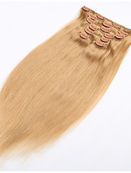 cheap -PANSY Clip In Human Hair Extensions Straight Remy Human Hair / Human Hair Brazilian Hair