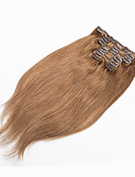 cheap -Clip In Human Hair Extensions Straight Human Hair Bleached Blonde