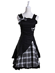 cheap -Lolita Dress Women's Cotton Japanese Cosplay Costumes Plus Size Customized Black Ball Gown Plaid Sleeveless Short Length
