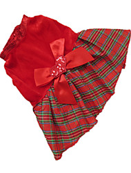 cheap -Dog Dress Dog Clothes Plaid / Check Red Grid Terylene Costume For Winter