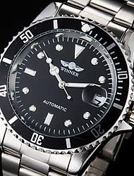 cheap -WINNER Men's Fashion Watch Dress Watch Wrist Watch Automatic self-winding Oversized Stainless Steel Silver Water Resistant / Waterproof Calendar / date / day Luminous Analog Luxury Classic Gunmetal