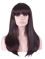 cheap -long length brown color straight hair european weave synthetic wig