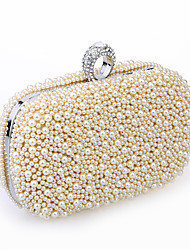 cheap -Women's Beading / Imitation Pearl / Crystal / Rhinestone Satin / Metal Evening Bag Wedding Bags Solid Colored Black / White / Champagne