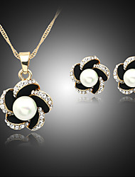 cheap -Women's Pearl Jewelry Set Necklace / Earrings Flower Ladies Pearl Imitation Pearl Rhinestone Earrings Jewelry Black / Navy / Blue For Wedding Party Daily / Silver Plated