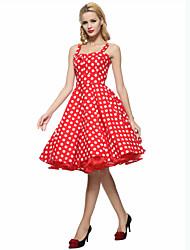 cheap -Women's Plus Size Party Vintage A Line Dress - Polka Dot Ruffle Strap Summer Cotton White Red Royal Blue XL XXL XXXL