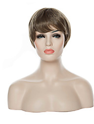 cheap -Synthetic Wig Straight Straight Wig Grey Synthetic Hair 6 inch Women's Brown