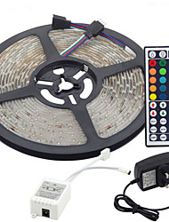 cheap -5m Flexible LED Light Strips / Light Sets / RGB Strip Lights LEDs 3528 SMD 8mm RGB Remote Control / RC / Cuttable / Dimmable 100-240 V / Linkable / Self-adhesive / Color-Changing / IP44