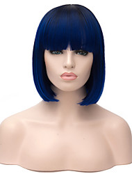 cheap -Synthetic Wig Straight Straight Bob Wig Short Blue Synthetic Hair Women's Ombre Hair Blue