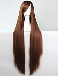 cheap -anime cosplay wig brown 100 cm long straight hair high temperature wire Halloween