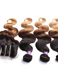 cheap -4 Bundles Malaysian Hair Body Wave Virgin Human Hair Hair Weft with Closure Human Hair Weaves Human Hair Extensions