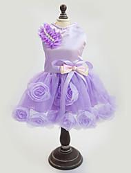 cheap -Dog Dress Dog Clothes Purple Pink Costume Fabric Floral Botanical Fashion New Year's XS S M L XL