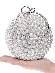 abordables -Femme Imitation Perle / Cristal / strass Polyester Pochette Sacs de soirée en cristal strass Métallique Blanche