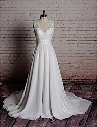 cheap -A-Line V Neck Court Train Chiffon / Lace Regular Straps Romantic Illusion Detail / Backless Wedding Dresses with Bowknot / Appliques 2020