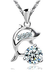cheap -Women's Diamond Cubic Zirconia Pendant Necklace Simulated Dolphin Animal Ladies Fashion Sterling Silver Cubic Zirconia Silver Silver Necklace Jewelry For Wedding Party Daily Casual