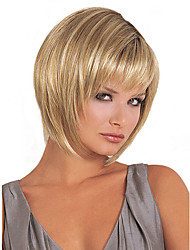 cheap -Synthetic Wig Straight Bob With Bangs Wig Blonde Blonde Synthetic Hair Women's Blonde