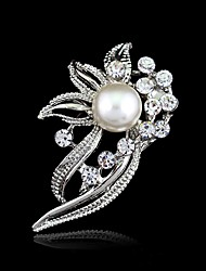 cheap -Women's White Crystal Pearl Brooches Flower Ladies Artistic / Retro Vintage Fashion For Mother / Mom Imitation Pearl Resin Rhinestone Brooch Jewelry Silver For Wedding Party Birthday Engagement Gift