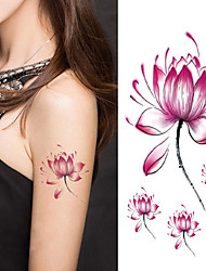 cheap -women lotus flower tattoo temporary tattoo stickers temporary body art waterproof tattoo