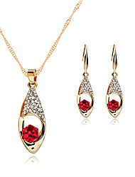 cheap -Women's Sapphire Crystal Jewelry Set Necklace / Earrings Solitaire Round Cut Ladies Rose Gold Crystal Rhinestone Earrings Jewelry Red / Green / Blue For Wedding Party Daily / Rose Gold Plated
