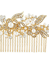 cheap -Women's Hair Combs For Wedding Party Crystal Imitation Pearl Golden Silver