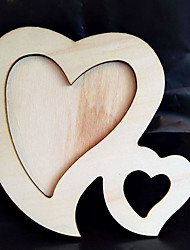 cheap -1X Double Heart White Base Wood Picture Frame Hand DIY Wood Photo Frame