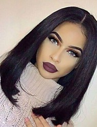 cheap -natural hairline virgin human hair silky straight bob style glueless lace wig