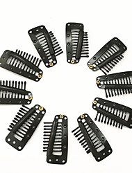 cheap -10pcs hairpins hair extension clips black blonde color snap clips for hair extension i teeth snap wig clips tool