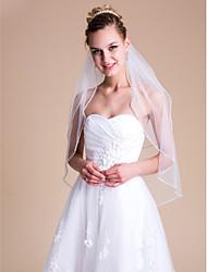 Недорогие -Два слоя Свадебные вуали Фата до локтя с Стразы 31.5 (80 см) Тюль