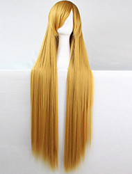 cheap -anime cosplay wig golden yellow 100 cm long straight hair high temperature wire Halloween