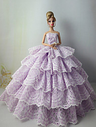 cheap -Doll Dress Party / Evening For Barbiedoll Satin / Tulle Lace Satin Dress For Girl's Doll Toy