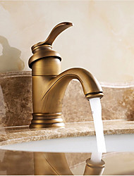 cheap -Single Handle Bathroom Faucet, Antique Brass One Hole Waterfall/Centerset, Brass Traditional Bathroom Sink Faucet Contain with Cold and Hot Water