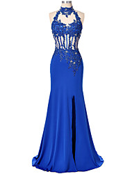 cheap -Mermaid / Trumpet High Neck Floor Length Lace / Satin Beautiful Back Formal Evening Dress 2020 with Beading / Sequin / Appliques / Split Front