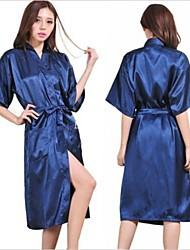 cheap -M Lady Silk Satin Pajama Lingerie Sleepwear Kimono Gown Nightdress Long Robe
