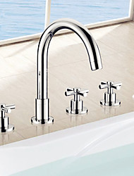cheap -Bathtub Faucet - Contemporary Chrome Roman Tub Ceramic Valve Bath Shower Mixer Taps / Three Handles Five Holes