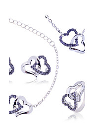 cheap -Women's Cubic Zirconia Jewelry Set Necklace / Bracelet Necklace / Earrings Heart Love Hollow Heart Dainty Ladies Luxury Zircon Imitation Diamond Earrings Jewelry White / Purple / Blue For Wedding