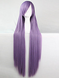 cheap -anime cosplay wig smoky purple 100 cm long straight hair high temperature wire Halloween