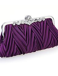 cheap -Women's Crystal / Rhinestone / Ruffles Satin Evening Bag Wedding Bags White / Black / Purple