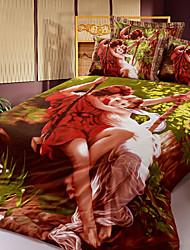 cheap -Duvet Cover Sets 3D(random pattern) 4 Piece Cotton Reactive Print Cotton 1pc Duvet Cover 2pcs Shams 1pc Flat Sheet