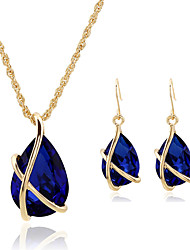 cheap -Women's Crystal Jewelry Set Pendant Necklace Pear Cut Solitaire Teardrop Ladies Vintage Party Work Casual Fashion Earrings Jewelry Red / Green / Blue For Party Special Occasion Anniversary Birthday