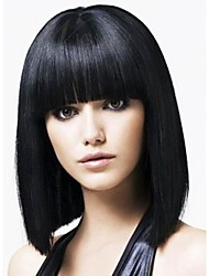 cheap -Virgin Human Hair Machine Made Glueless Full Lace Glueless Lace Front Wig Free Part Straight bangs With Bangs style Brazilian Hair Yaki Yaki Straight Wig 130% 150% 180% Density with Baby Hair Natural