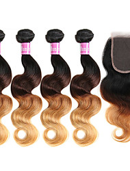 cheap -4 Bundles With Closure Brazilian Hair Body Wave Virgin Human Hair Hair Weft with Closure 8-30 inch Human Hair Weaves Ombre Hair Human Hair Extensions