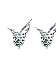 cheap -Women's Crystal Stud Earrings Wings Angel Wings Cheap Ladies Fashion Cute bridesmaid Sterling Silver Crystal Silver Plated Earrings Jewelry Silver For Wedding Party Daily Casual Masquerade Engagement