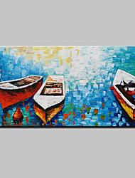 cheap -Mintura® Lager Handmade Sea Boat Knife Oil Painting On Canvas Wall Paintings For Living Room Home Decor Whit Frame Ready To Hang