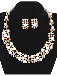 cheap -Women's Jewelry Set Necklace / Earrings Luxury European Bridal Pearl Imitation Pearl Gold Pearl Earrings Jewelry White / Gray For Wedding Party Casual Daily