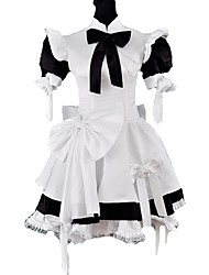 cheap -Princess Gothic Lolita Classic Lolita Maid Suits Women's Girls' Satin Japanese Cosplay Costumes Black Patchwork Puff / Balloon Sleeve Short Sleeve Medium Length / Gothic Lolita Dress / Cravat